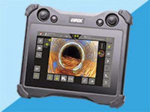Monitor per videoispezioni con sfondo blu