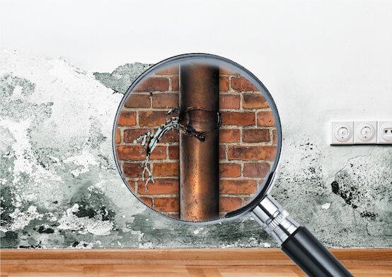 Fotomontaggio di una lente d'ingrandimento davanti a un muro con macchie di umidità, un muro di mattoni e un tubo che perde acqua